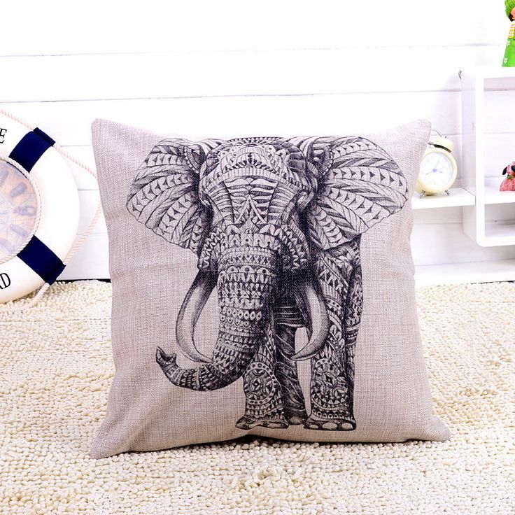 africanartonline.com - Black and White Decorative Elephant Cushion Cover, $24.95 FREE Shipping (http://africanartonline.com/black-and-white-decorative-elephant-cushion-cover/)