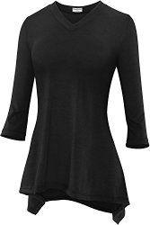 Stanzino Women's Short Sleeve Comfy Loose Fit Long Tunic Top