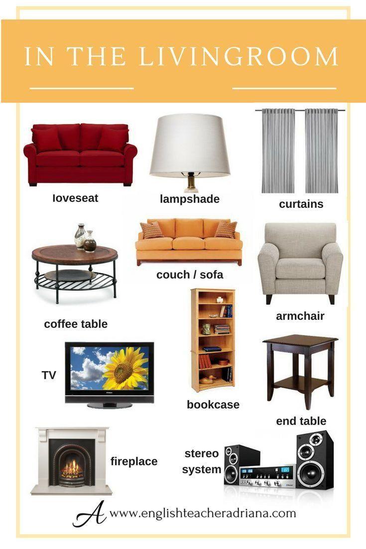 Names Of Living Room Furniture Beautiful Inspiring Living Room Furniture Names In English S Em 2020 Dicas De Ingles Linguas Estrangeiras Vocabulario Ingles