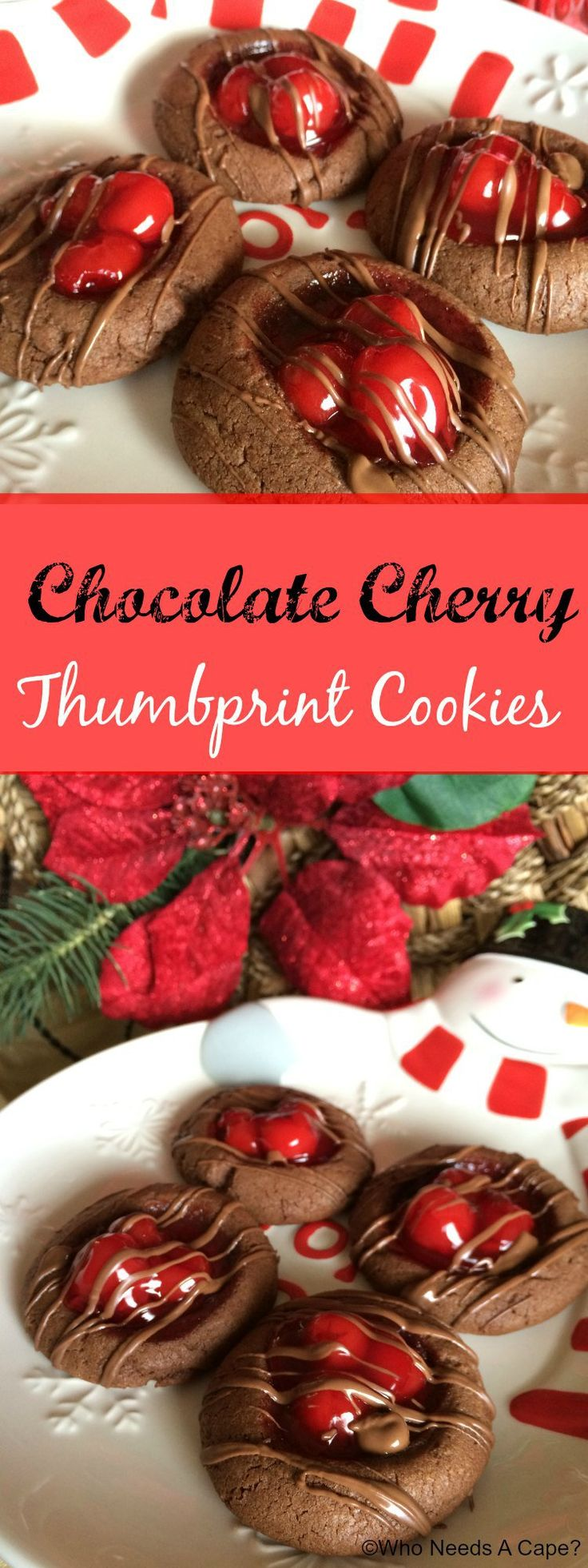 Chocolate Cherry Thumbprint Cookies   Who Needs A Cape? #BakethisHolidaySpecial with this amazing cookies that will add a dazzle to your holiday cookie tray!