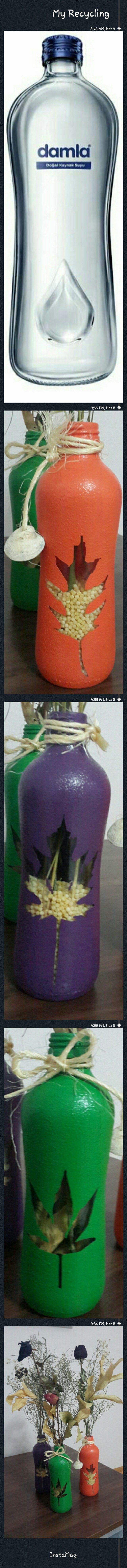 Su şişesinden vazo