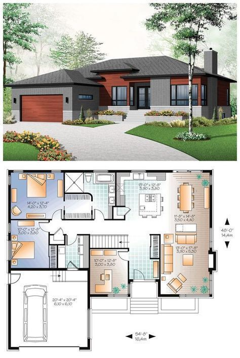 Small house with modern simple lines. 1676 Total L…