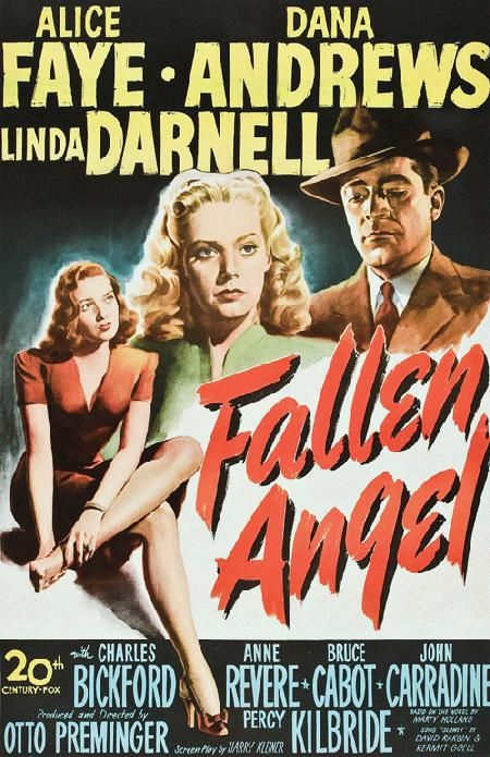 High quality reproduction movie poster for Fallen Angel starring Alice Faye, Dana Andrews and Linda Darnell from 1945. 11 x 17 inches on card stock.