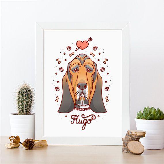 Caricatura de Basset. Retrato de Basset. Retrato de perro. Regalo divertido. Arte original. Obra personalizada. Retrato por encargo.