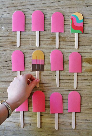 DIY Paper Popsicle Memory Game by Eat Drink Chic. These Popsicles would be cute for a bulletin board.