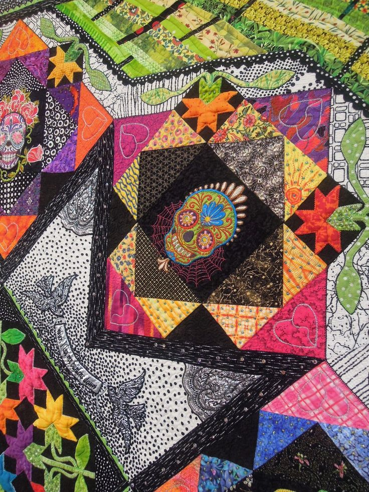 87 best Dia de los Muertos quilts images on Pinterest | Califlower ... : day of the dead quilt pattern - Adamdwight.com