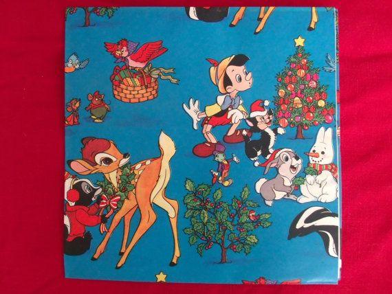 Vintage Disney Christmas Wrap Bambi Pinocchio by ...