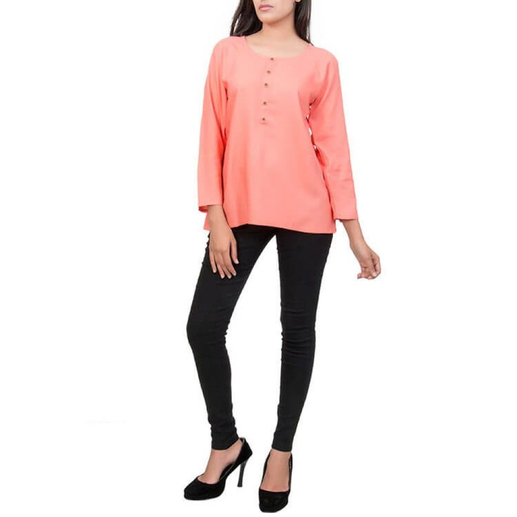 Coral Red Rayon Short Top