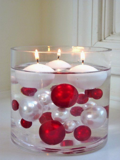 Unique Elegant Vase Fillers - 95 Pieces Pack Jumbo Red Pearls and White Pearls with Sparkling & Red Diamonds and Gems Accents - Wholesal...