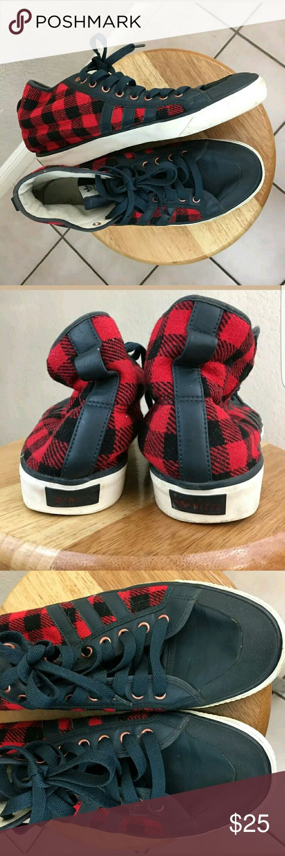 Adidas Men Plaid High Top Nizza Mens plaid Adidas high top Nizza good condition with normal wear and tear. Adidas Shoes
