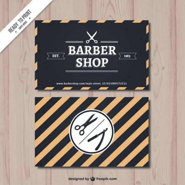 ストライプ理髪店カード 無料ベクター
