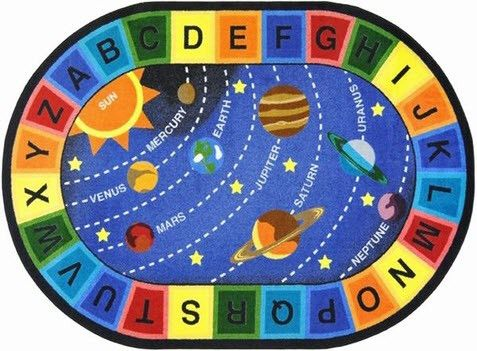 The alphabet, the solar system, and the planet names will draw children immediately to the bright colors and beautiful design on the Space Alphabet Area Rug. A preschool, playroom, museum or even a li