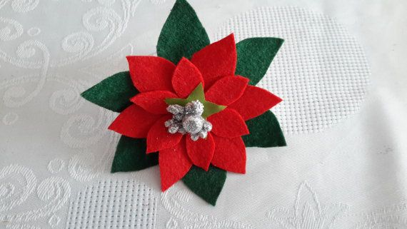 Poinsettia napkin rings christmas new year gift gold by BubuZuzu