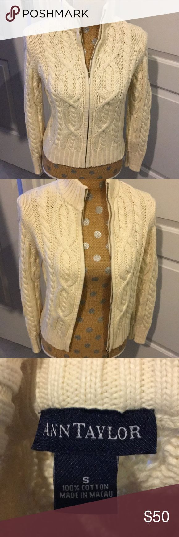 Ann Taylor cableknit cream zip up! Looks new! Beautiful zip up sweater. Ann Taylor Sweaters Cardigans