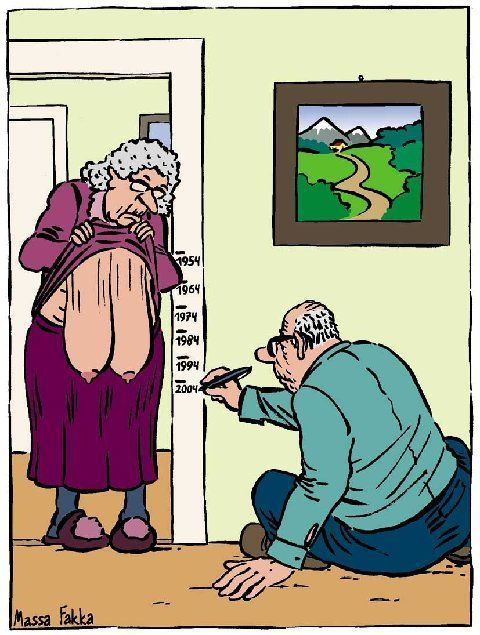 DO YOU REMEMBER WHEN YOU WERE A KID AND YOUR PARENTS LINED YOU UP AGAINST A DOOR FRAME TO MARK HOW TALL YOU WERE AND DATED THE MARK? WELL, THIS CARTOON BRINGS A WHOLE NEW PERSPECTIVE TO THAT EXERCISE!