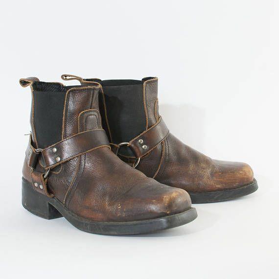 UK 10 EU vintage en cuir véritable marron bottes de Cowboy Festival hommes 44 US 11