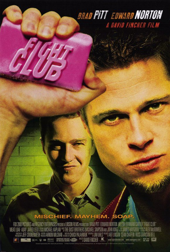"A ticking-time-bomb insomniac and a slippery soap salesman channel primal male aggression into a shocking new form of therapy. Their concept catches on, with underground ""fight clubs"" forming in every town, until an eccentric gets in the way and ignites an out-of-control spiral toward oblivion  http://www.imdb.com/title/tt0137523/"