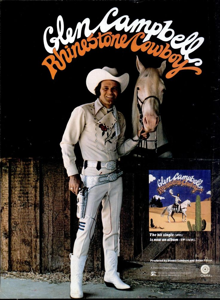 """Glen Campbell """"Rhinestone Cowboy"""" ad from Billboard, August 9, 1975."""