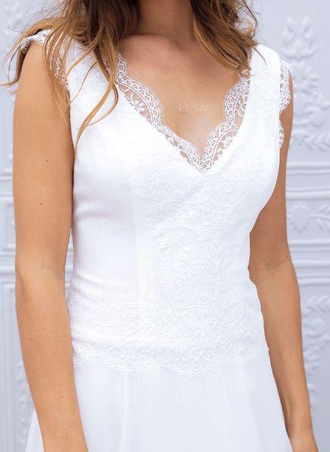 Forme Princesse Col V Traîne Balayage/Pinceau Mousseline Dentelle Robe de mariée avec Motifs appliqués Dentelle (0025059920) - vbridal