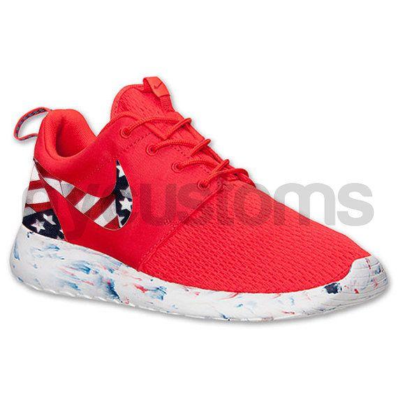 Limited Stock Nike Roshe Run Red Marble American Flag