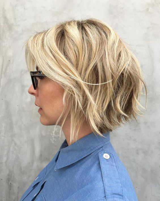 Blonde Layered Bob With Highlights