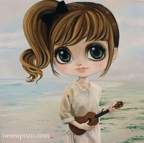 Nerea Pozo: Ukelele Girl 2  Oil on Canvas 3D 40 x 40 cm 2013