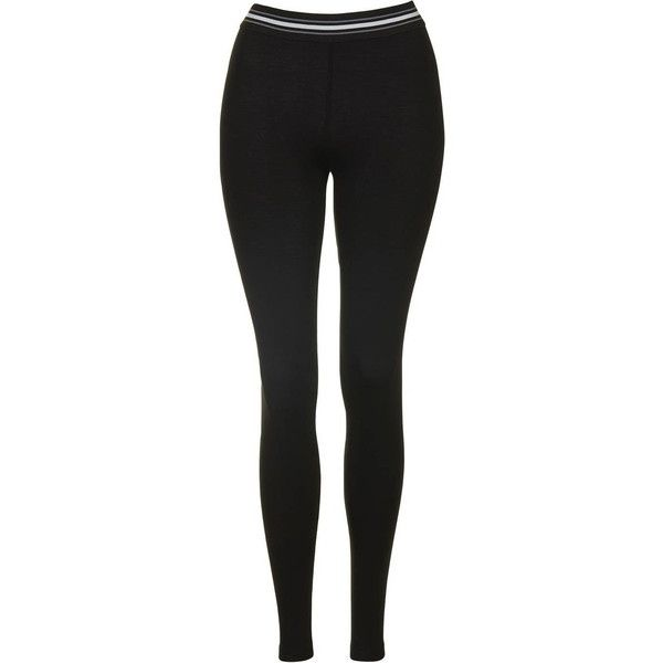TopShop Elastic Detail Basic Leggings (22 AUD) ❤ liked on Polyvore featuring pants, leggings, black, stretch waist pants, stretch pants, elastic pants, stretch leggings and legging pants