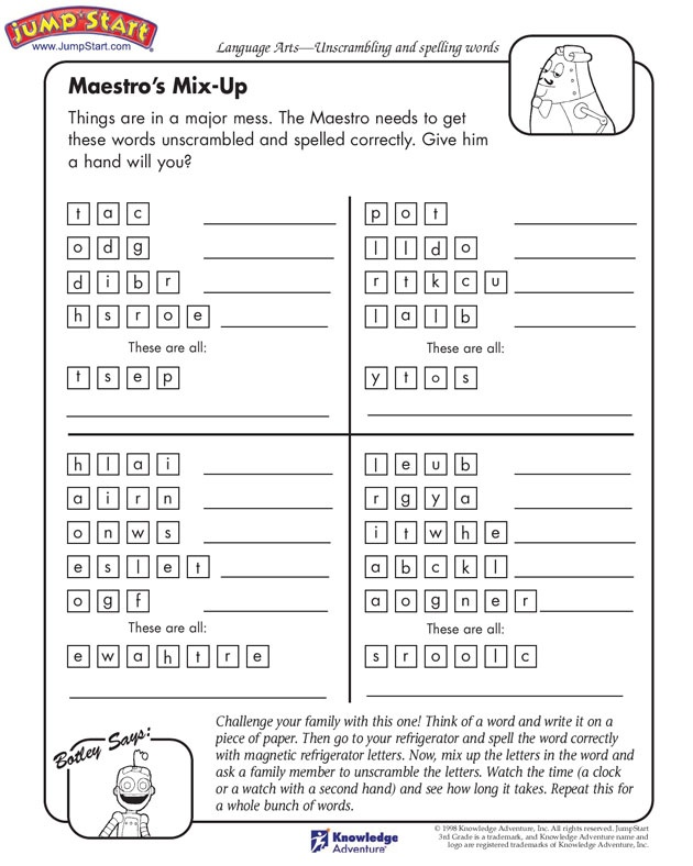 Maestro's Mix-up - Language Arts Worksheets for Kids (3rd ...