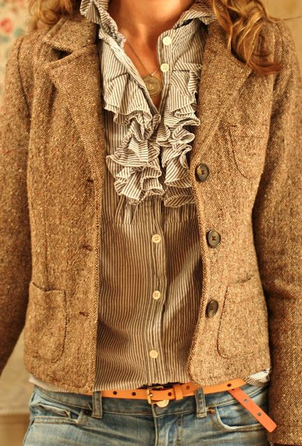 Love this!Blouses, Fashion, Tweed Jackets, Fall Style, Shirts, Fall Looks, Blazers, Fall Outfit, Ruffles