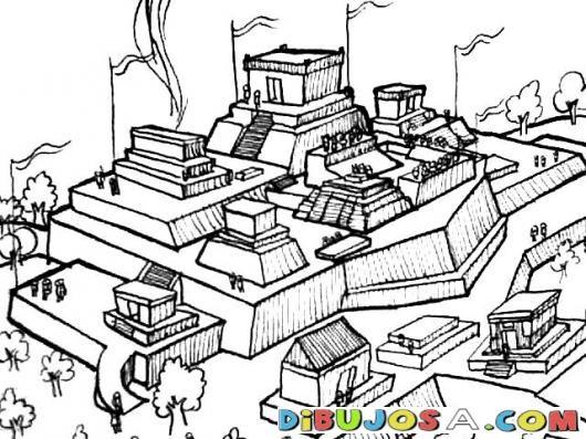 Dibujo De Ciudad Maya Para Pintar Y Colorear | COLOREAR MAYAS | Dibujo De Ciudad Maya Para Pintar Y Colorear | dibujosa.com