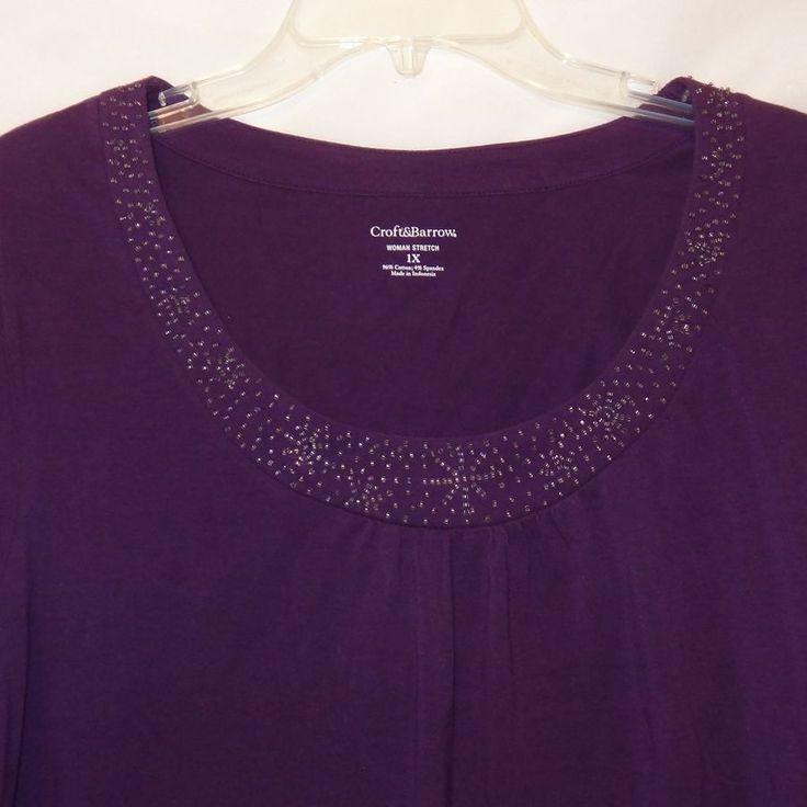 New Purple Shirt Blouse Beads Long Sleeve Size 1X Shirt Women Croft & Barrow  #CroftBarrow #Blouse #Career