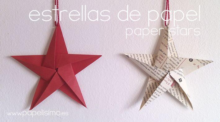 Cómo hacer estrellas de papel cinco puntas para el árbol de Navidad
