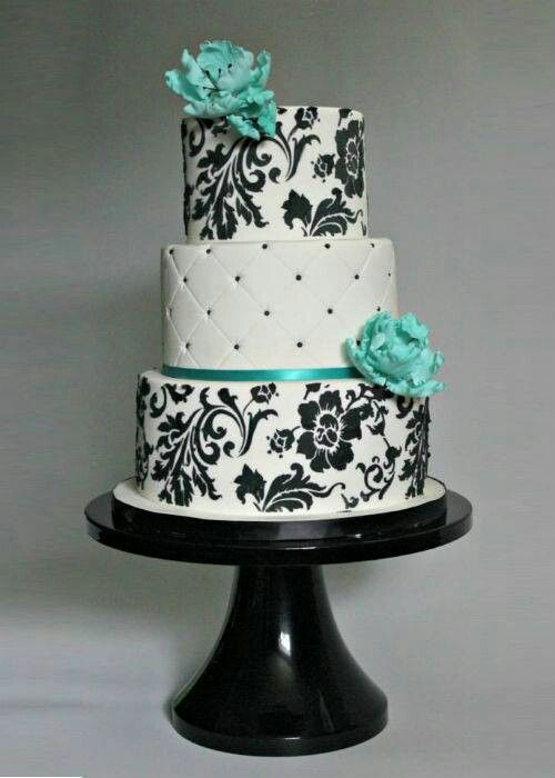 Beautiful black, white, and aqua cake.  Starting a Catering Business  Start your own catering business  http://www.startingacateringbusiness.com  #cakes #sweets #desserts