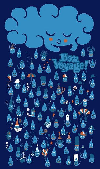 bon voyage! Cloud Illustration by Doris Freigofas