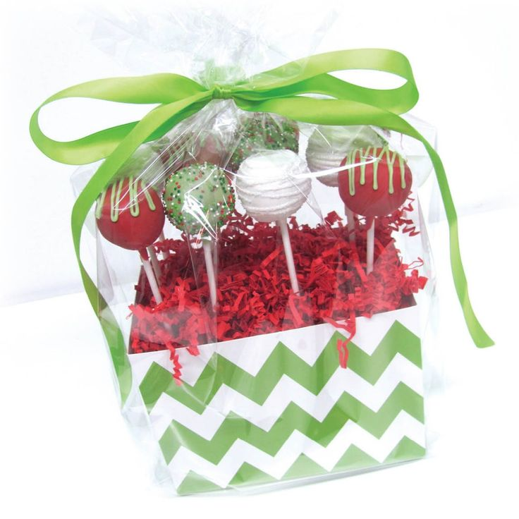 Christmas cake pop arrangement using our Chevron basket boxes from our good friends at Nashville Sweets!
