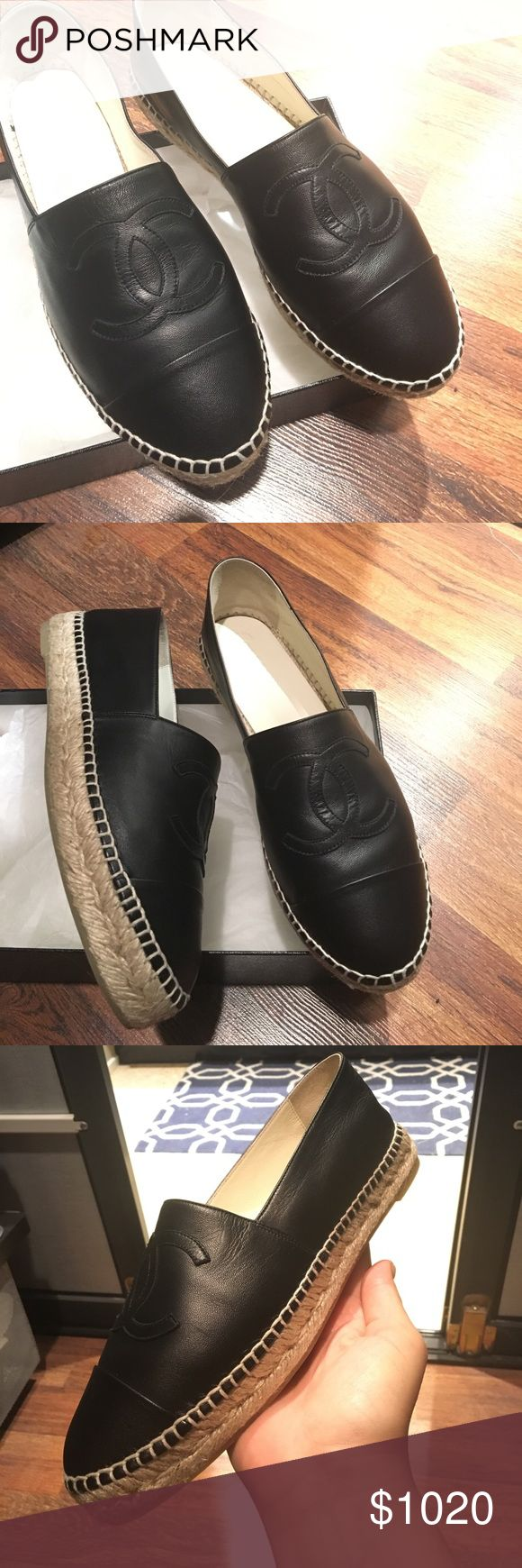 💯%Authentic Chanel Espadrilles New unworn Black Leather Chanel Espadrilles - soft leather (lambskin leather) ----->>>No Trades OR PP<<<--- ***Price is FINAL CHANEL Shoes Espadrilles