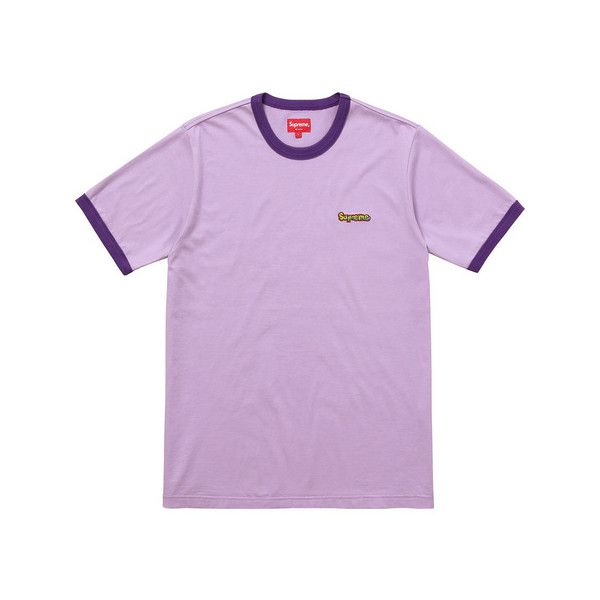 Supreme Ringer Tee ($74) ❤ liked on Polyvore featuring tops, t-shirts, purple top, purple t shirt and purple tee