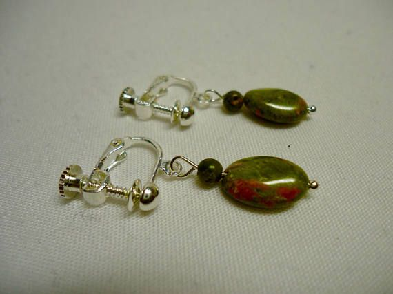 Reddish Green Unakite Screw Back Earrings for Women White