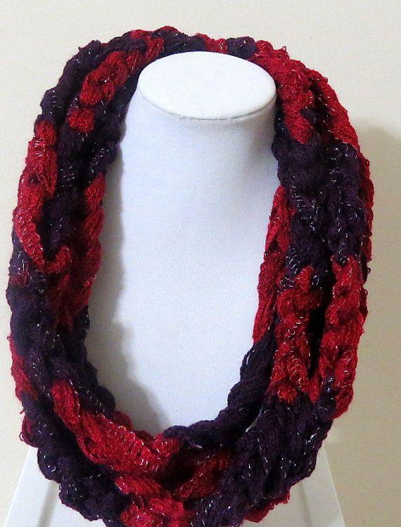 Crochet Chain Stitch Scarf, Rope Scarf, Sashay Braided Scarf, Rob Infinity Scarf , Crochet Braided Scarf, Infinity scarf