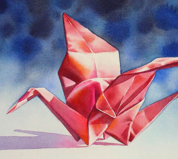 FLIGHT OF FANCY origami crane still life watercolor painting