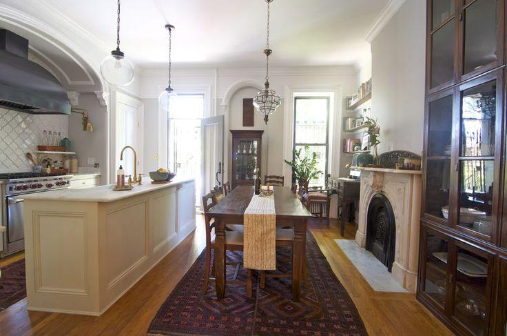 Brownstone parlor kitchen dining area from indigo ochre for Brownstone kitchen ideas