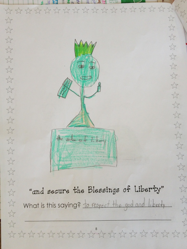 Illustrate and describe the Preamble to the Constitution! (In kid language!)