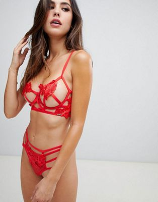 8d2f9f3ae7 Bluebella Nikita strappybra   thong lingerie set in red