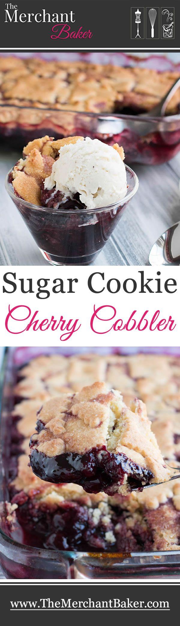Sugar Cookie Cherry Cobbler. Sweet, juicy cherries bake beneath a tender, yet crispy crust of buttery sugar cookies. A fun twist on traditional cobbler!