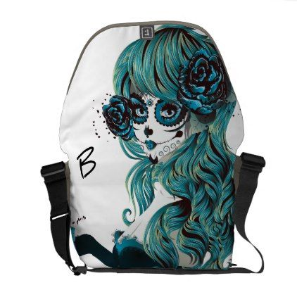Day of the Dead Mexican Sugar Skull Girl Teal Messenger Bag - glam gifts unique diy special glamour