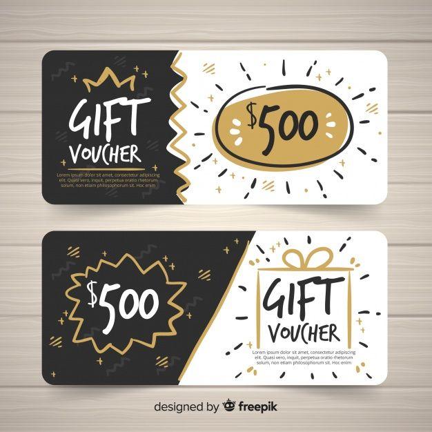 Modern Hand Drawn Gift Voucher Template Gift Card Design Gift Voucher Design Voucher Design