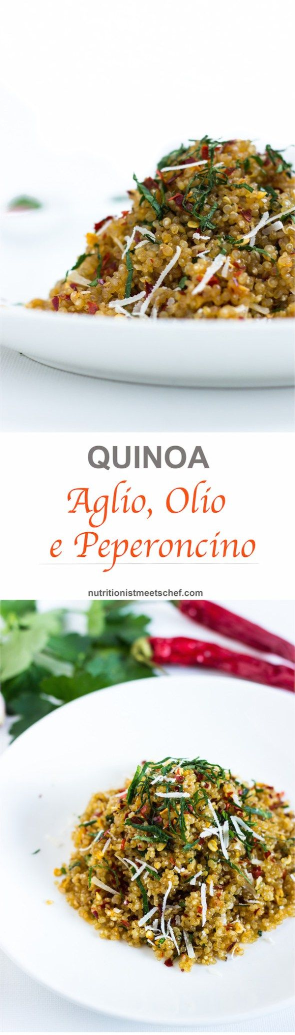Quinoa Aglio, Olio e Peperoncino. A spin of the classic italian dish. The perfect comfort food as it is quick, easy and healthy!
