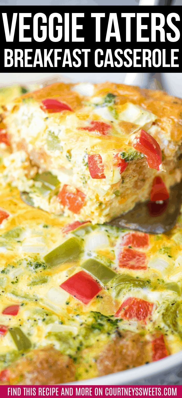 Tater Tot Breakfast Casserole Made With Mccain Veggie Taters Easy Brunch Recipe Bre Tater Tot Breakfast Casserole Tater Tot Breakfast Breakfast Casserole Easy