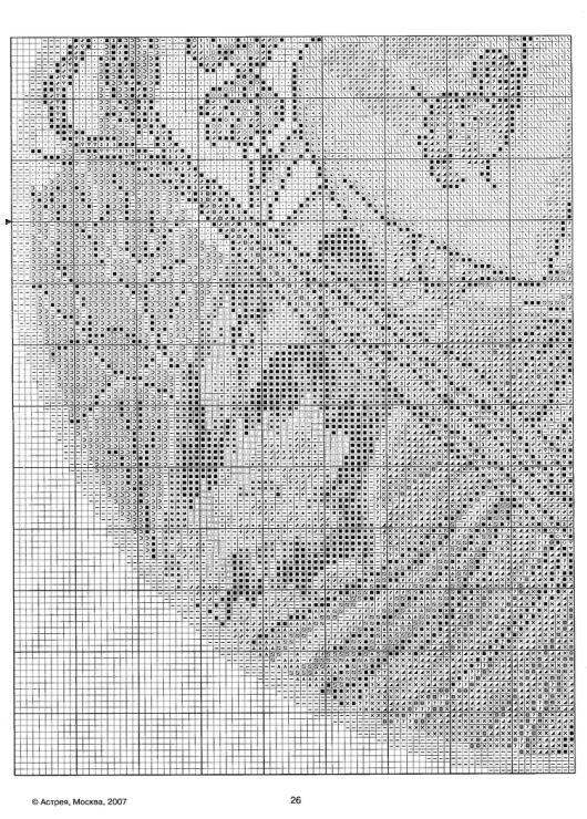 """Borduurpatroon Kruissteek """"De Maanden"""" van Alfons Mucha *Cross Stitch Pattern """"The Months"""" ~april 4/5~"""