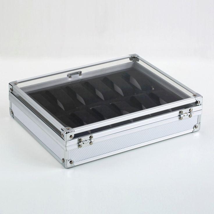 Professionelle 12 Grid Slots Lager Square Box Fall Aluminium Wildleder Innen Container NO1 Neuheiten